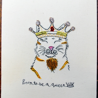 Born to be a Queen - Mixed Media Stretched Calico Framed Canvas Art.