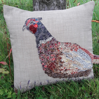 Pheasant Cushion - Free Motion Embroidered and Appliqued Design