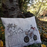 Cycling Home For Christmas, Free Motion Embroidered Orignal Art Cushion.