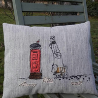 Sybil Posts a Christmas Letter - Free Motion Embroidered and Applique Cushion.