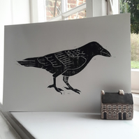 Raven Hand Pulled Linocut Print