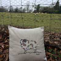 Jacobs Sheep Machine Embroidered Cushion.