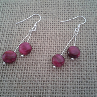 Pink Tiger's Eye Sterling Silver Drop Earrings