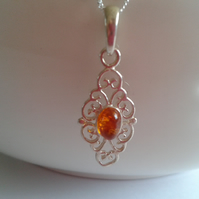 Sterling Silver Filigree Pendant with Amber