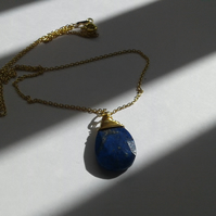 Lapis Lazuli Pendant with Gold Plated Sterling Silver