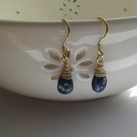 Lapis Lazuli Earrings with Gold Plated Sterling Silver