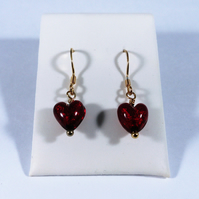 Murano Glass Heart Earrings with Sterling Silver