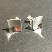 Small Silver Square Earrings, Domed Silver Studs, Handmade Silver Concaved Studs
