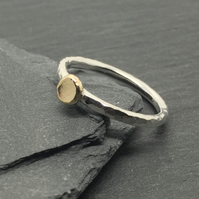 Hammered 9ct Yellow Gold and Silver Pebble Stacking Ring