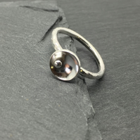 Silver Pebble and Dome Stacking Ring