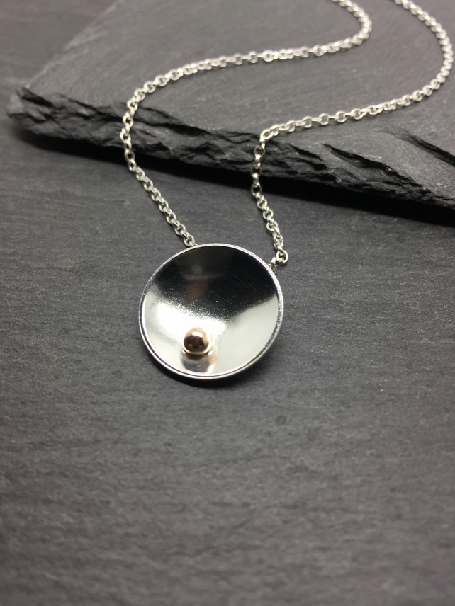 Polished Sterling Silver and 9ct Gold Dome Necklace