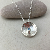 Textured Silver and Aquamarine Necklace
