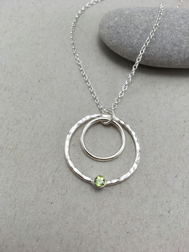 Peridot Sterling Silver Circle Necklace