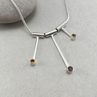 Silver Garnet, Hessonite and Citrine Necklace