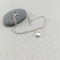 Sterling Silver Pebble Toggle Bracelet