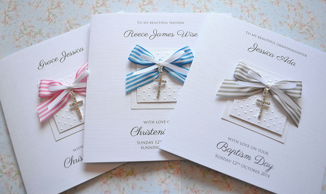 Personalised Christening Card Diamante Cross Baptism Naming day BOY or GIRL