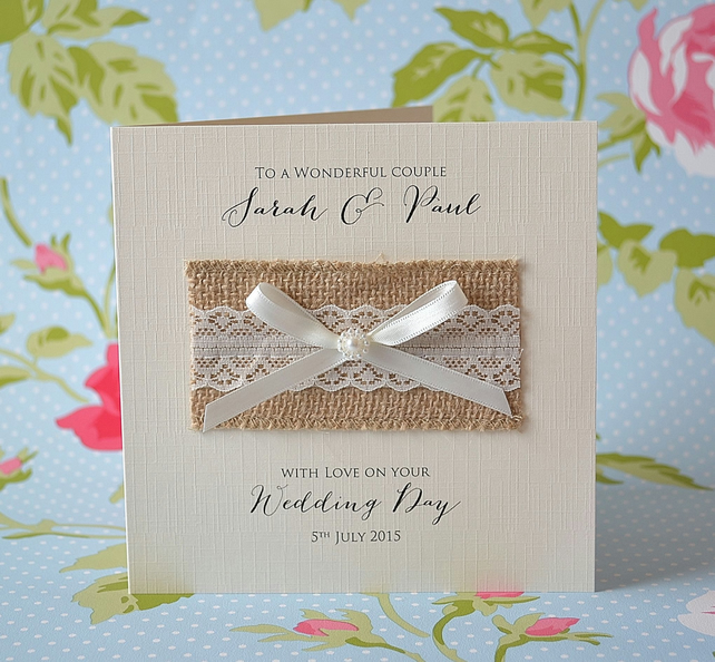 Personalised Wedding Day Card handmade shabby chic hessian rustic