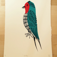 Handprinted linocut 3 colour Swallow print