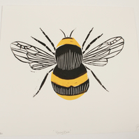 Handprinted linocut Honey Bee