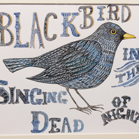 """Blackbird singing in the dead of night"" giclée print"