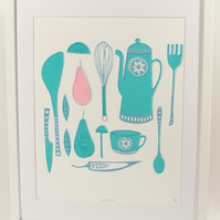Retro kitchen original screenprint