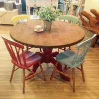Colourful Homestead Rustic Pine Dinning Table and Chairs