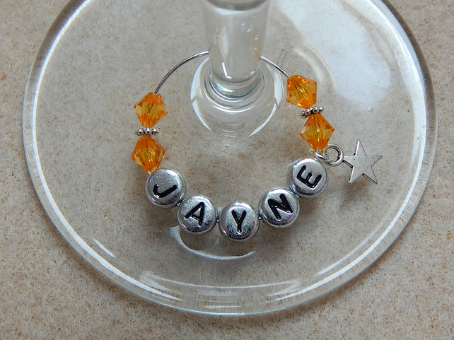Personalised Wine Glass Charm