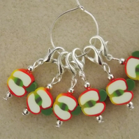 Crochet Stitch Markers Set of 6 Apples