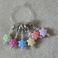 Crochet Stitch Markers Set of 6 Flowers
