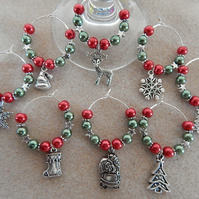 Christmas Wine Glass Charms Set of 8 Red and Green