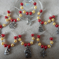 Christmas Wine Glass Charms Set of 8 Red and Yellow