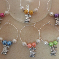 Easter Wine Glass Charms Set of 6 3D Easter Bunny with Carrot