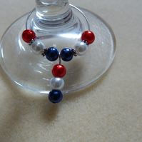 Wine Glass Charm Rings Great Britain Olympics Red, White & Blue Set of 6
