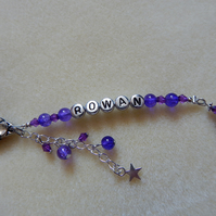 Handbag Charm Personalised Purple Angel Charm Flower Clasp