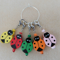 Crochet Stitch Markers Ladybirds Ladybugs Set of 5