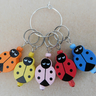 Knitting Stitch Markers Ladybirds Ladybugs Set of 5
