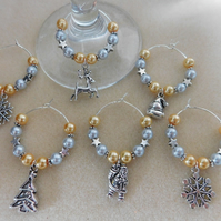 Christmas Wine Glass Charms Set of 8 Gold and Silver