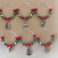 Christmas Napkin Rings Red and Green Set of 6
