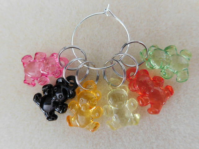 Knitting Stitch Markers Teddy Teddies Set of 6