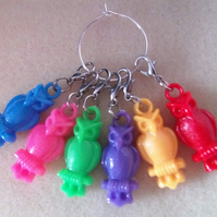 Crochet Stitch Markers Owls Set of 6