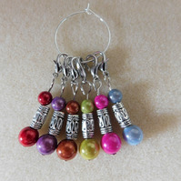 Crochet Stitch Markers Set of 6 made with miracle beads