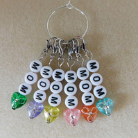 Crochet Stitch Markers Mom set of 6