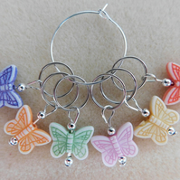Knitting Stitch Markers Butterflies Butterfly Set of 6