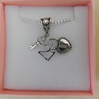 Necklace Age 21 21st Lock & Key Silver Plated Gift Boxed