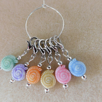Crochet Stitch Markers Sea Snails Set of 6