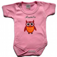 Personalized Baby Grow Babygrow Owl Design