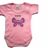Personalized Baby Grow Babygrow Butterfly Design