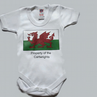 Personalized Baby Grow Welsh Flag