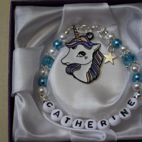 Personalised Charm Bracelet Unicorn Charm Blue Gift Boxed