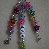 Sun Moon Star Bag Charm Personalised